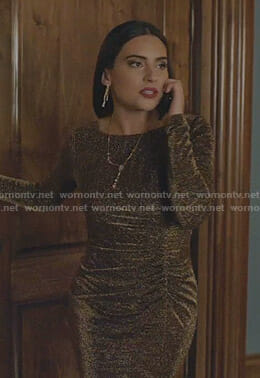 Cristal's metallic ruched dress on Dynasty