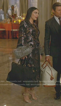 Cristal's black printed fur cuff coat on Dynasty