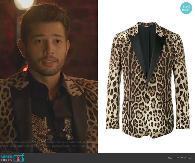 Leopard Print Blazer by Doloce & Gabbana worn by Sam Flores (Rafael de la Fuente) on Dynasty
