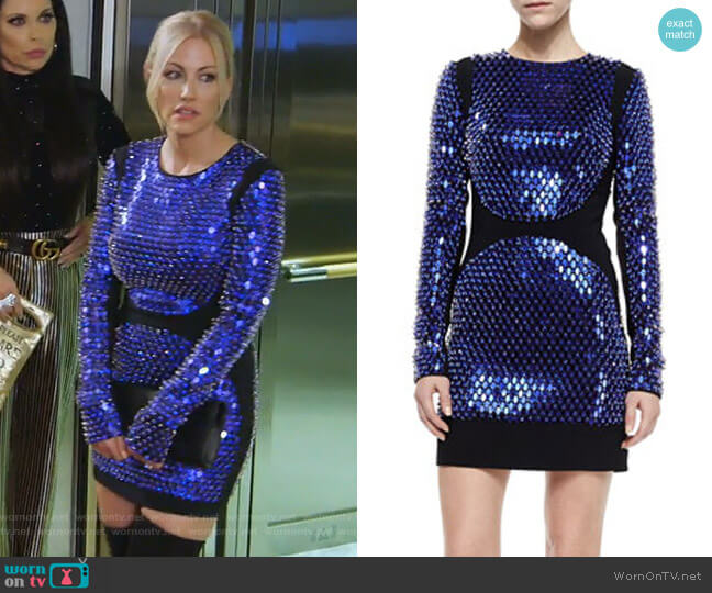 Embellished Long-Sleeve Mini Dress by David Koma worn by Stephanie Hollman  on The Real Housewives of Dallas