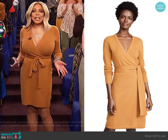 Wendy's mustard wrap dress on The Wendy Williams Show