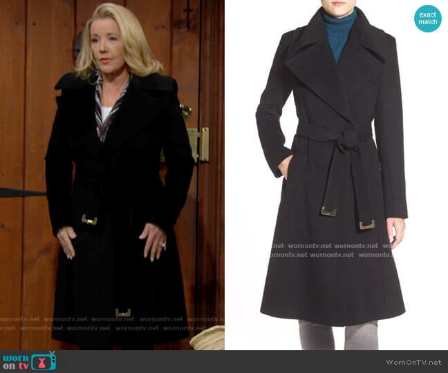 Diane von Furstenberg Long Wool Blend Wrap Coat worn by Nikki Reed Newman (Melody Thomas-Scott) on The Young & the Restless