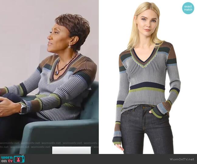 Long Sleeve V Neck Sweater by Diane von Furstenberg worn by Robin Roberts  on Good Morning America