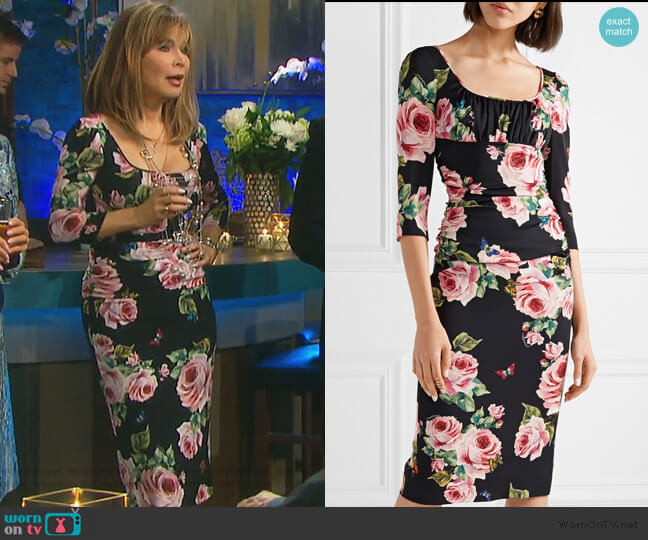 Ruched floral-print stretch-silk charmeuse midi dress by Dolce & Gabbana worn by Lauren Koslow on Days of our Lives
