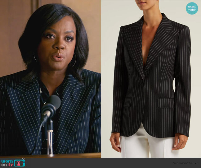 Single-breasted pinstripe wool blazer by Dolce & Gabbana worn by Viola Davis on HTGAWM