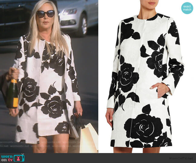 Floral-print cotton-blend jacquard coat by Dolce & Gabbana worn by Shannon Beador  on The Real Housewives of Orange County