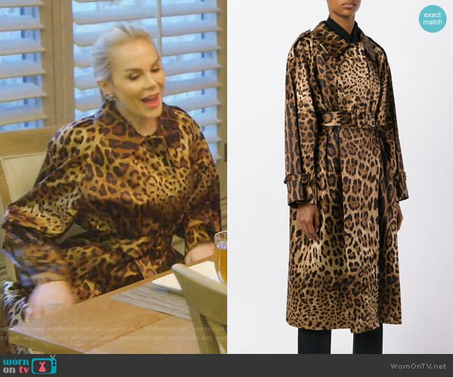Leopard Print Trench Coat by Dolce & Gabbana worn by Kameron Westcott  on The Real Housewives of Dallas