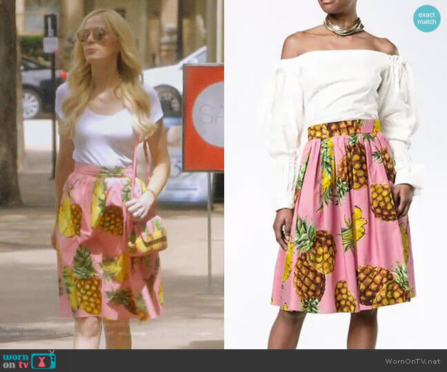 Pineapple Print Skirt by Dolce & Gabbana worn by Kameron Westcott  on The Real Housewives of Dallas