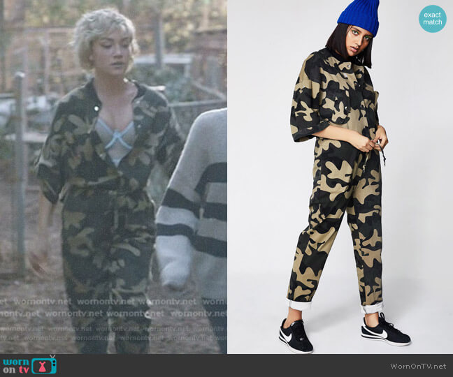 Never Unseen Camo Jumpsuit by Dolls Kill worn by Jude Demorest on Star