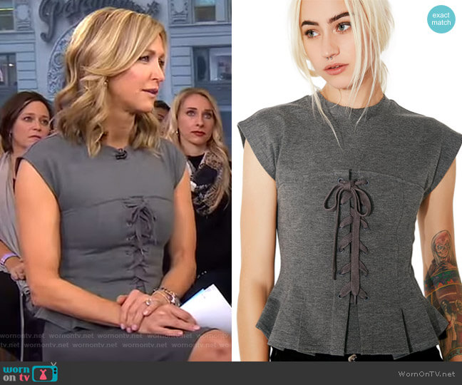 Storybook Lace-Up Top by Dolls Kill worn by Lara Spencer (Lara Spencer) on Good Morning America