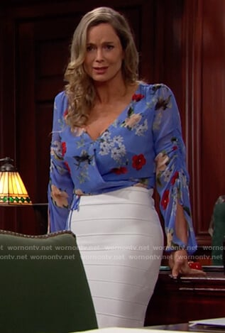 Donna's blue floral wrap top on The Bold and the Beautiful