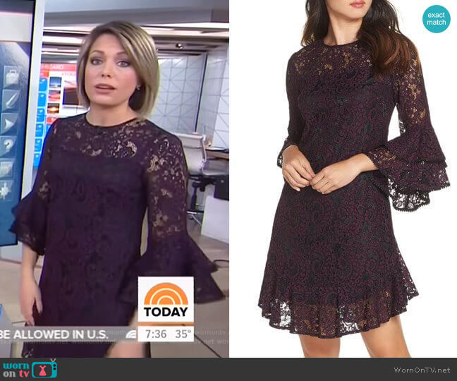 Double Ruffle Lace Dress by Eliza J worn by Dylan Dreyer  on Today