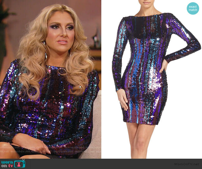 Lola Sequin Body-Con Dress by Dress the Population worn by Gina Kirschenheiter  on The Real Housewives of Orange County