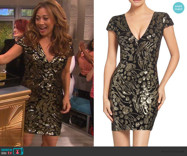 Zoe Sequined Mini Dress by Dress the Population worn by Carrie Inaba on The Talk