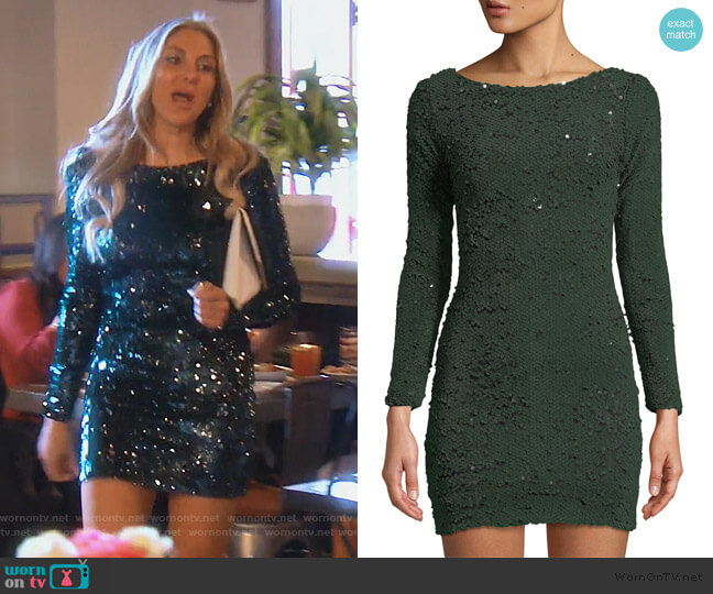 eebc95ec2c Lola Long-Sleeve Sequin Mini Dress by Dress the Population worn by Gina  Kirschenheiter (