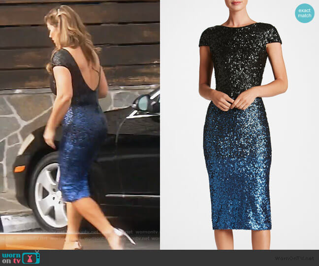 Marcella Sequin Ombre Scoop Back Midi Dress by Dress the Population worn by Emily Simpson  on The Real Housewives of Orange County