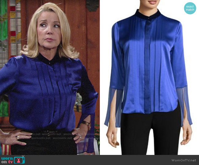 Elie Tahari Izarra Blouse worn by Nikki Reed Newman (Melody Thomas-Scott) on The Young & the Restless