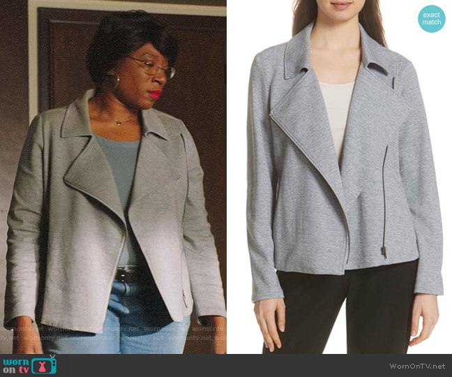 Hen's grey moto jacket on 9-1-1