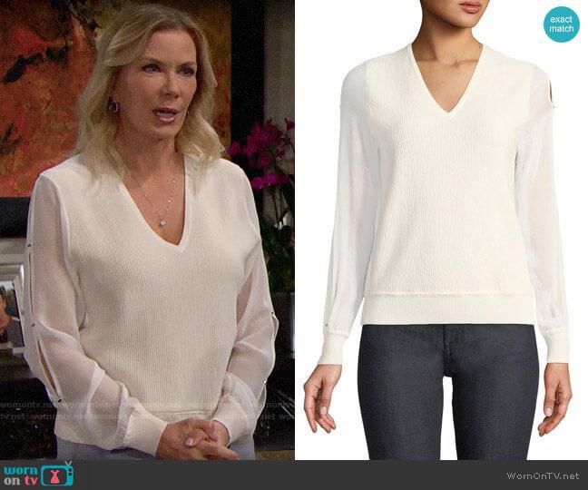Elie Tahari Maria Sweater worn by Brooke Logan (Katherine Kelly Lang) on The Bold & the Beautiful