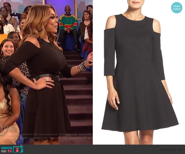Cold Shoulder Ponte Fit & Flare Dress by Eliza J worn by Wendy Williams (Wendy Williams) on The Wendy Williams Show