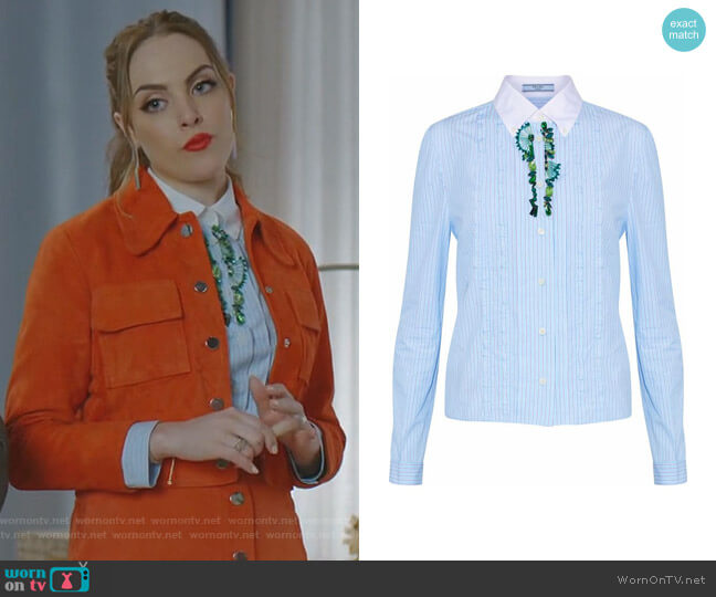 Embellished Striped Shirt by Prada worn by Elizabeth Gillies on Dynasty