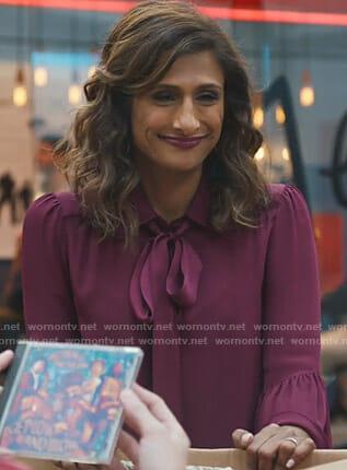 Emet's purple bell sleeve tie neck blouse on I Feel Bad