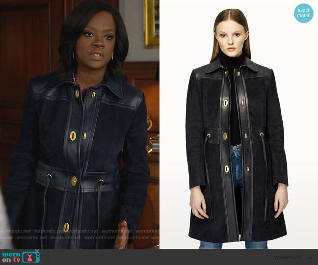 Suede and Leather Coat by Escada worn by Viola Davis on HTGAWM