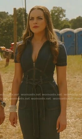 Fallon's denim jumpsuit on Dynasty
