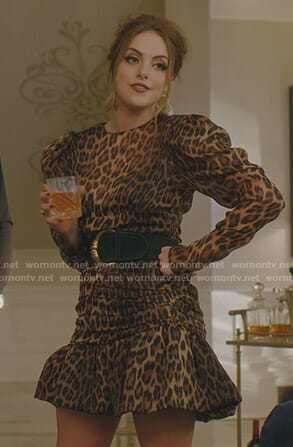 Fallon's leopard print mini dress on Dynasty