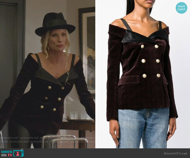 Off-The-Shoulder Blazer Top by Faith Connexion worn by Alexis Carrington (Nicollette Sheridan) on Dynasty