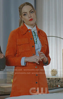 Fallon's orange suede jacket and skirt on Dynasty