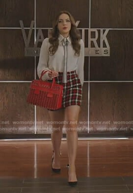 Fallon's white tie neck blouse and checked mini skirt on Dynasty
