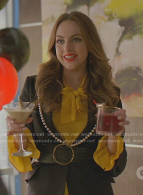 Fallon's yellow blouse and black jacket with pearls on Dynasty