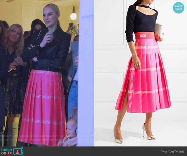 Pleated Checked Jacquard Midi Skirt by Fendi worn by Kameron Westcott  on The Real Housewives of Dallas