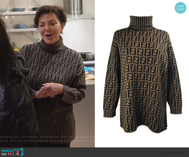 Zucca Logo Monogram Print Turtleneck Sweater by Fendi worn by Kris Jenner  on Keeping Up with the Kardashians