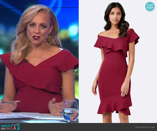 Amber Frill Dress Forever New worn by Carrie Bickmore on The Project