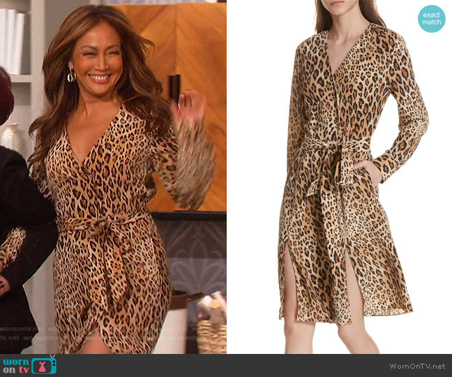 Sgt. Pepper Leopard Print Silk Dress by Frame worn by Carrie Inaba  on The Talk
