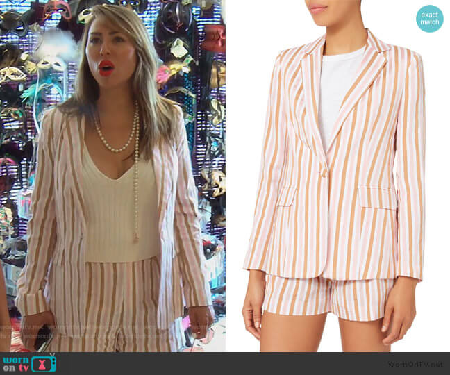 Pink Striped Blazer and shorts by Frame worn by Kelly Dodd (Kelly Dodd) on The Real Housewives of Orange County