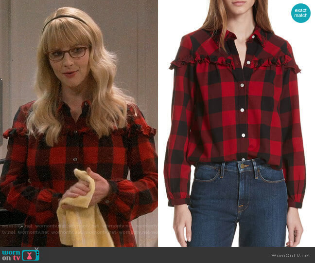 Frame Ruffle Trim Buffalo Check Shirt worn by Bernadette Rostenkowski (Melissa Rauch) on The Big Bang Theory