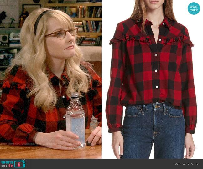 Frame Ruffle Trim Buffalo Check Shirt worn by Bernadette Rostenkowski (Melissa Rauch) on The Big Bang Theory