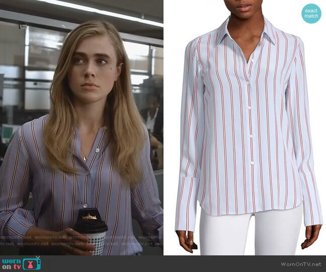 Silk Button-Front Blouse by Frame worn by Michaela Stone (Melissa Roxburgh) on Manifest