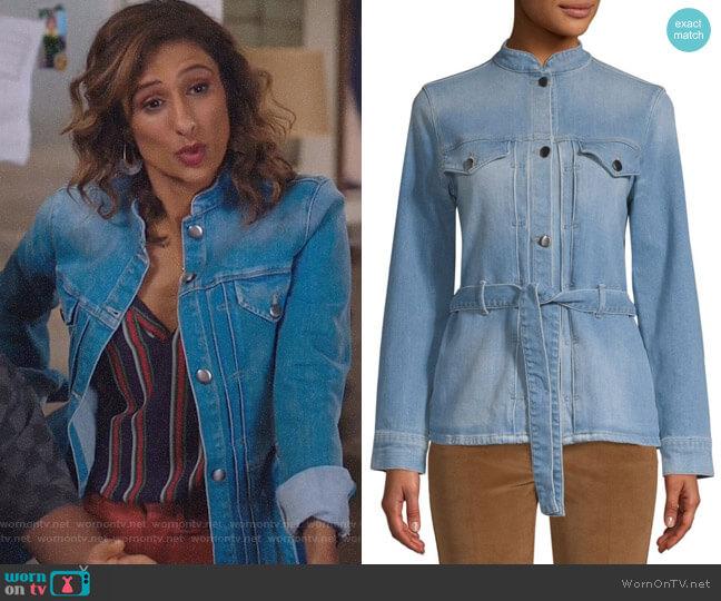 Slender Denim Jacket by Frame worn by Emet Kamala-Sweetzer (Sarayu Blue) on I Feel Bad