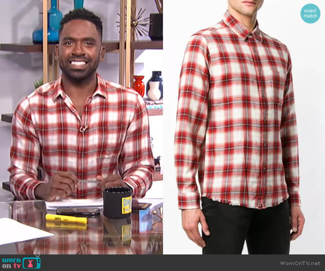 Check Shirt by Frame worn by Justin Sylvester  on E! News
