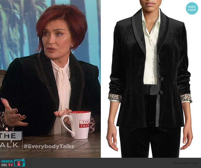 Fitted Velvet Button-Front Blazer Jacket by Frame worn by Sharon Osbourne  on The Talk