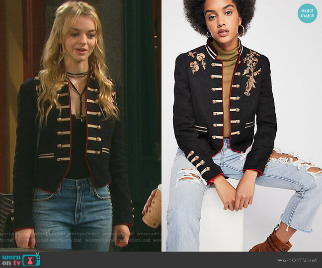 Lauren Band Jacket by Free People worn by Olivia Rose Keegan on Days of our Lives