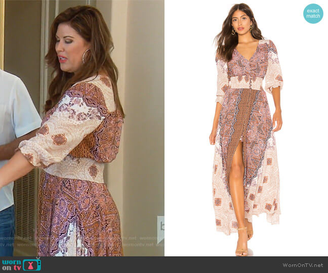 Mexicali Rose Maxi Dress by Free People worn by Emily Simpson on The Real Housewives of Orange County