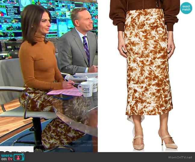 Fur-Print Asymmetric Midi-Skirt by Victoria Beckham worn by Bianna Golodryga (Bianna Golodryga) on CBS This Morning