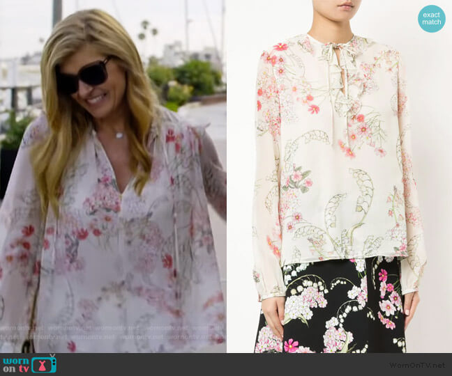Floral Print Blouse by Giambattista Valli worn by Debra Newell (Connie Britton) on Dirty John