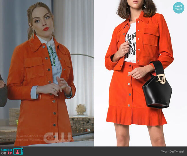 Fallon's orange skirt on Dynasty