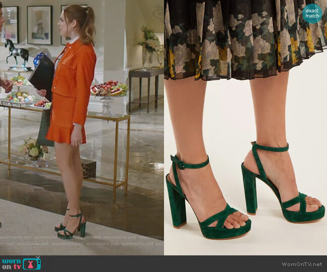 Poppy Suede Platform Sandals by Gianvito Rossi worn by Elizabeth Gillies on Dynasty